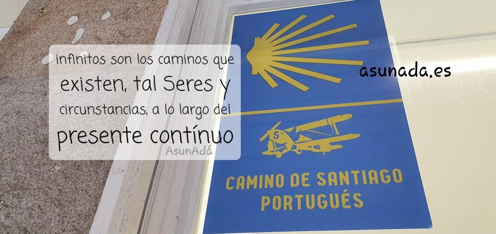 Señal del Camino de Santiago Portugués. AsunAdá